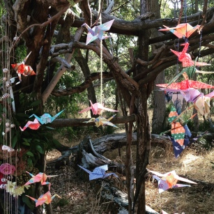 Paper cranes decorating the Ceremony Arbor.