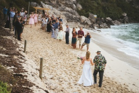 Barefoot Beach Wedding Margaret River - Jo making her way down to the ceremony - photo by Driftwood Photography