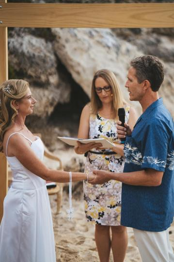 Margaret River Weddings - Jo and Matt exchanging vows - photo by Driftwood Photography