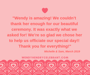 Michelle and Sam Review Wendy Hendry Celebrant