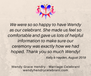 Review Wendy Grace Hendry Celebrant K and H