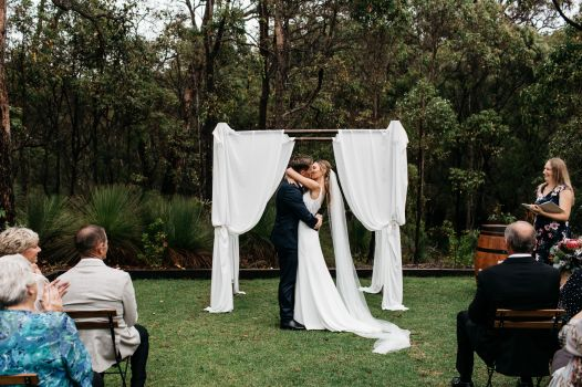 Jess and Lachie First Kiss Bina Maya Yallingup Escape photo by Kelly Harwood Photography